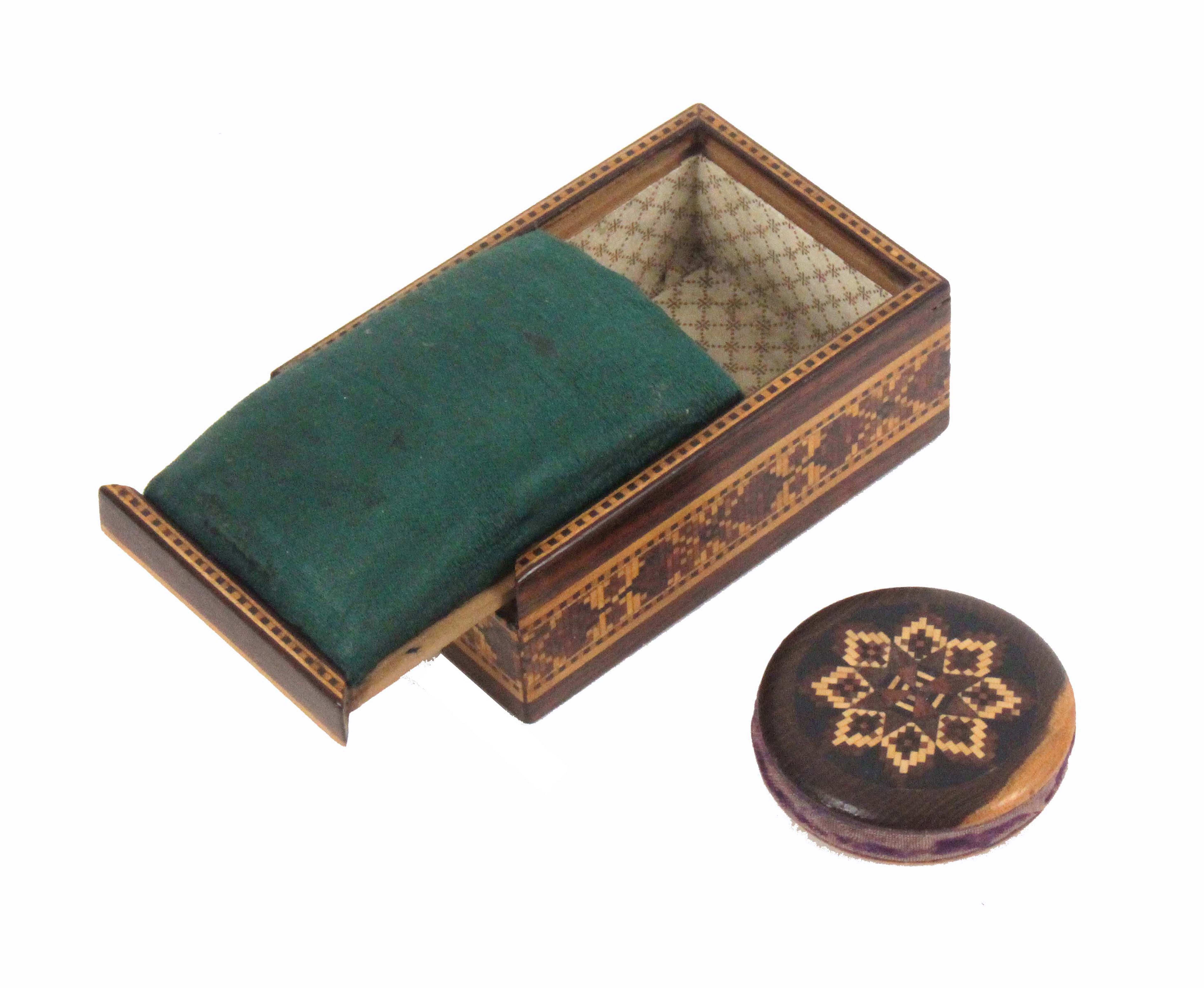 Tunbridge ware - two pieces, comprising a rosewood geometric mosaic rectangular box with sliding lid - Image 2 of 2