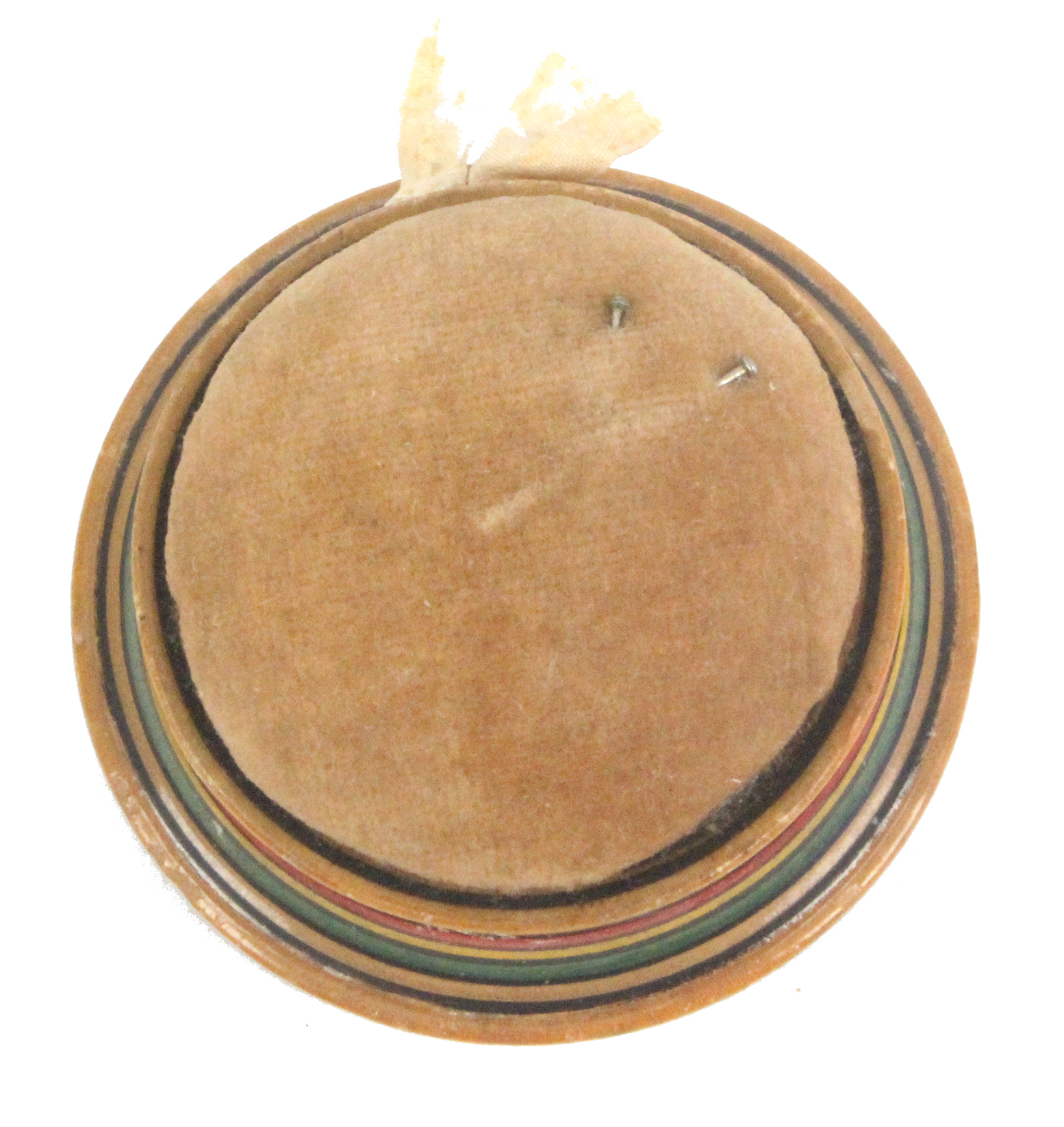 A rare circular paint and print decorated early Tunbridge ware pin cushion, of circular form one - Image 2 of 2