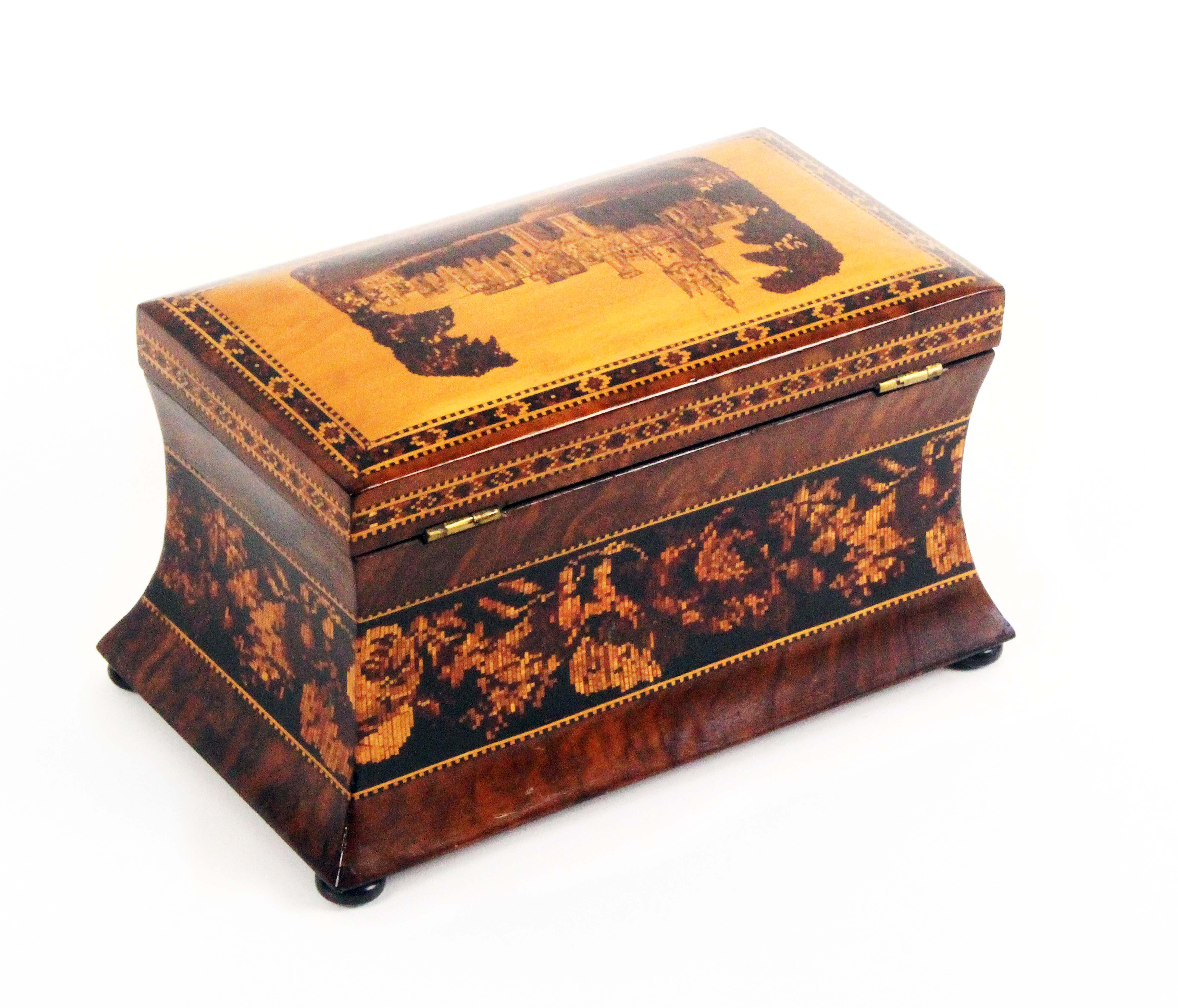 Lot 20 - A good walnut Tunbridge ware tea caddy, the convex sides with a broad band of floral mosaic with a