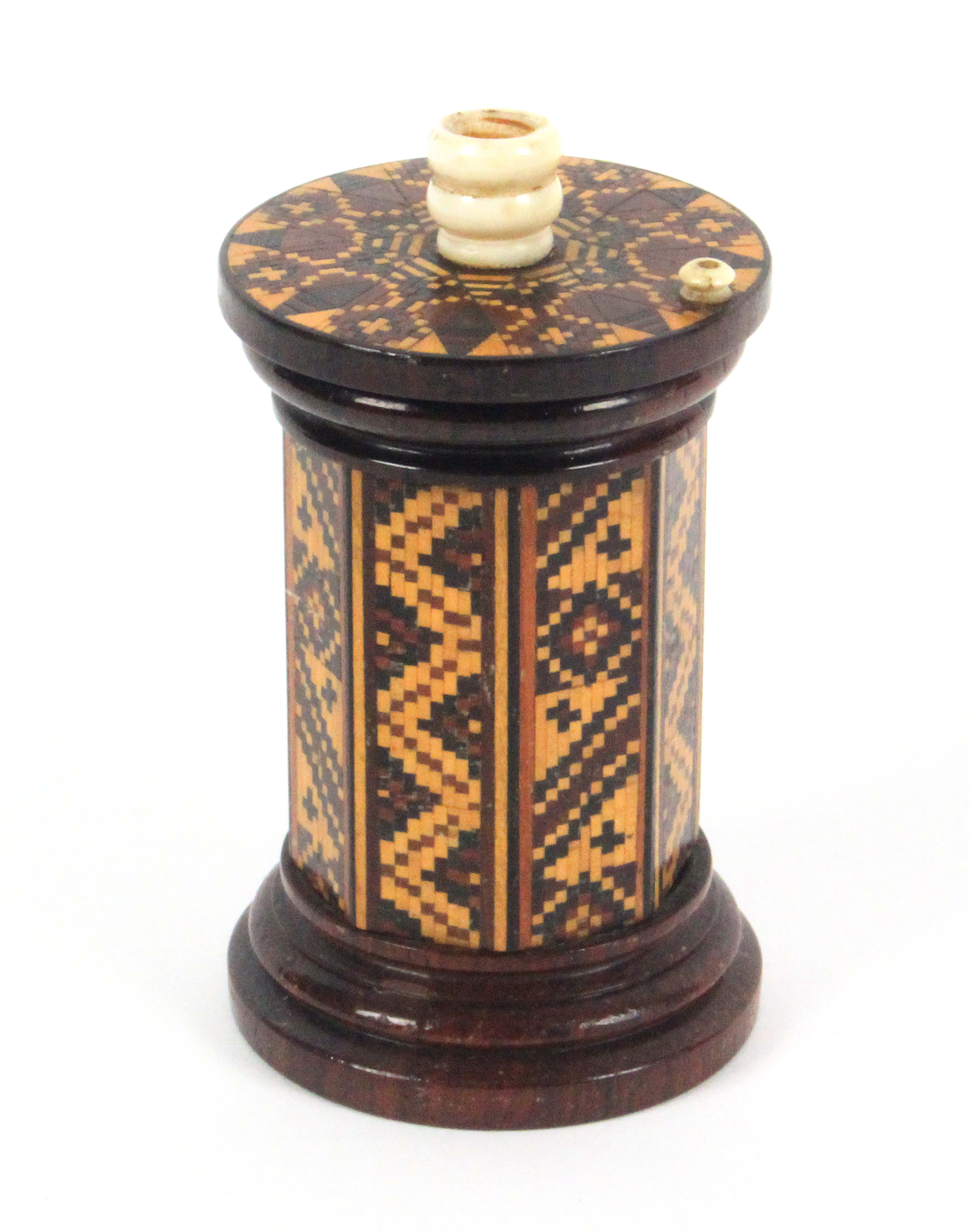A rosewood Tunbridge ware 'go to bed', the turned base to a geometric mosaic octagonal body, the top