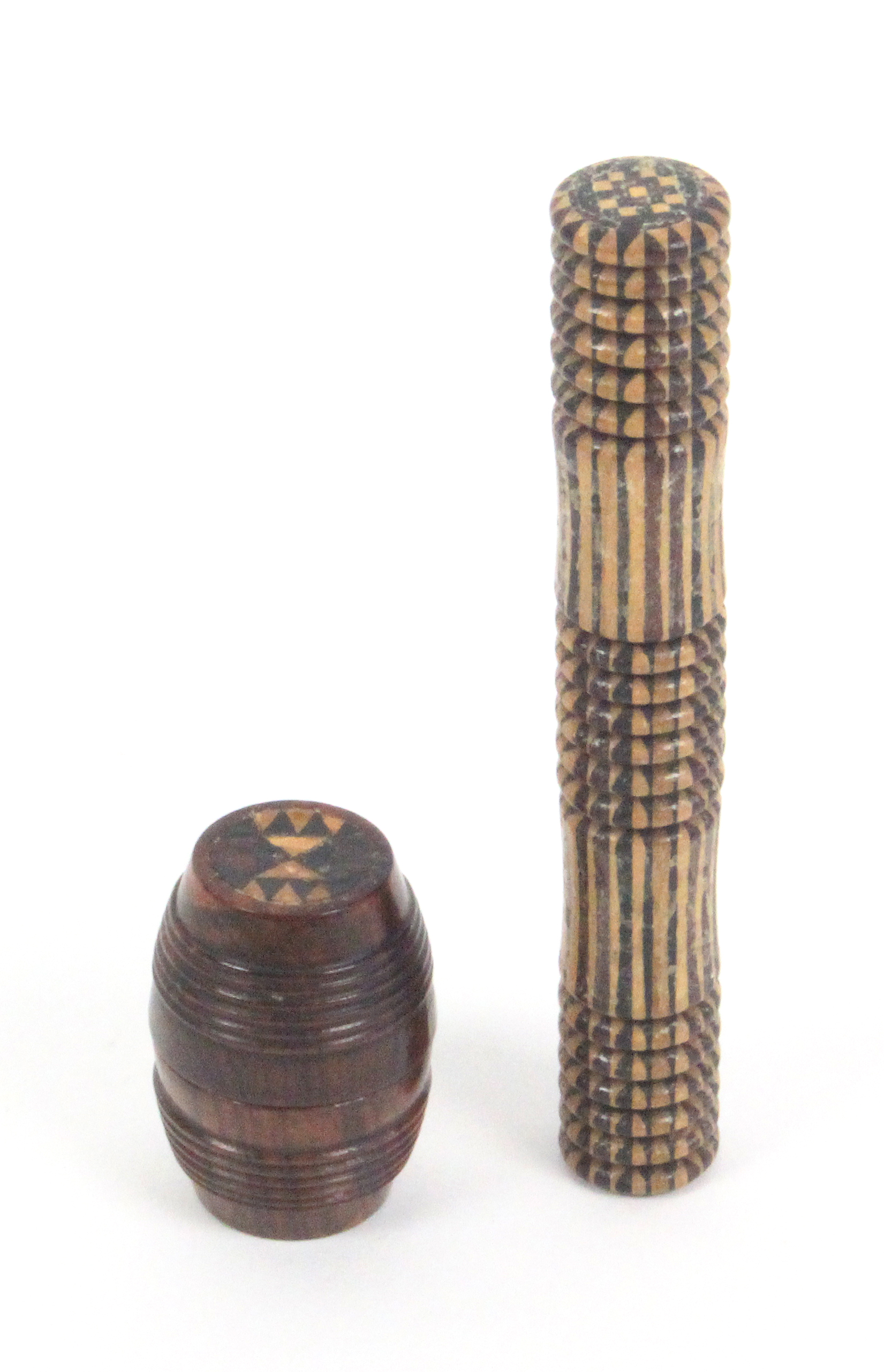 Lot 5 - A Tunbridge ware needle case and a waxer, the cylinder needle case in stickware with geometric end