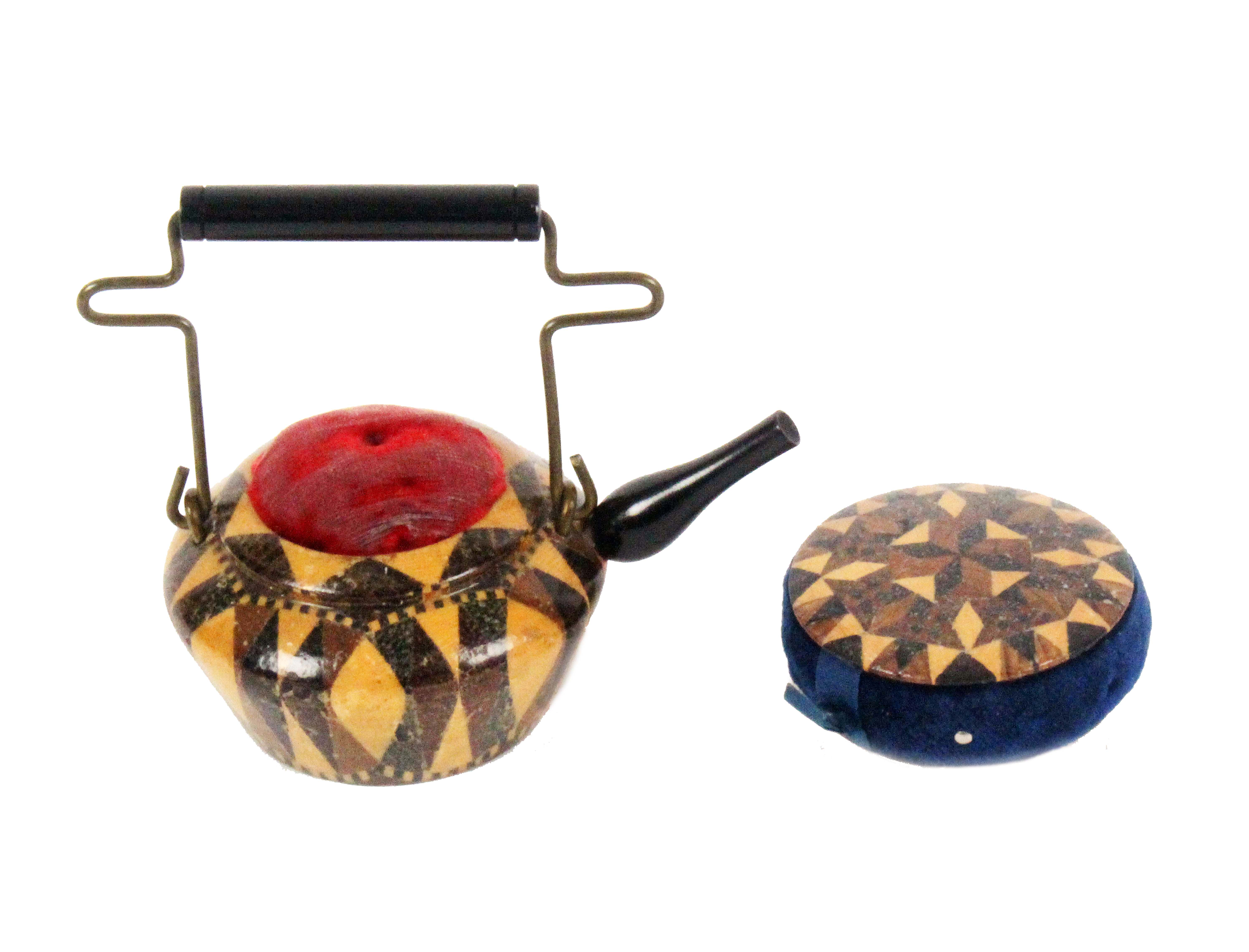 Lot 16 - Tunbridge ware - two pieces, comprising a good stick ware teapot pin cushion the brass wire handle
