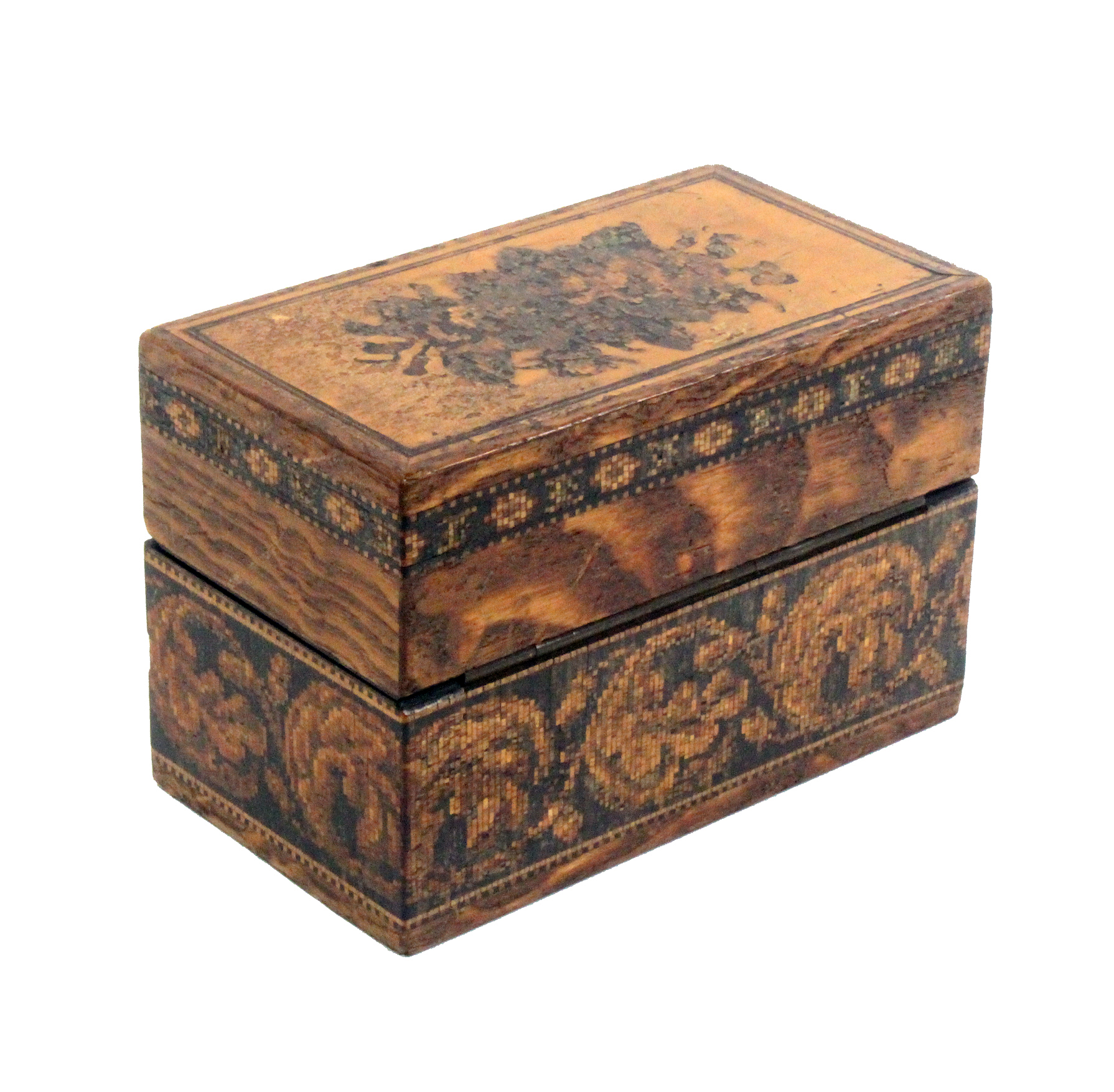 A Tunbridge ware box by Edmund Nye, the lid inset with a floral mosaic, the sides with a band of - Image 2 of 5