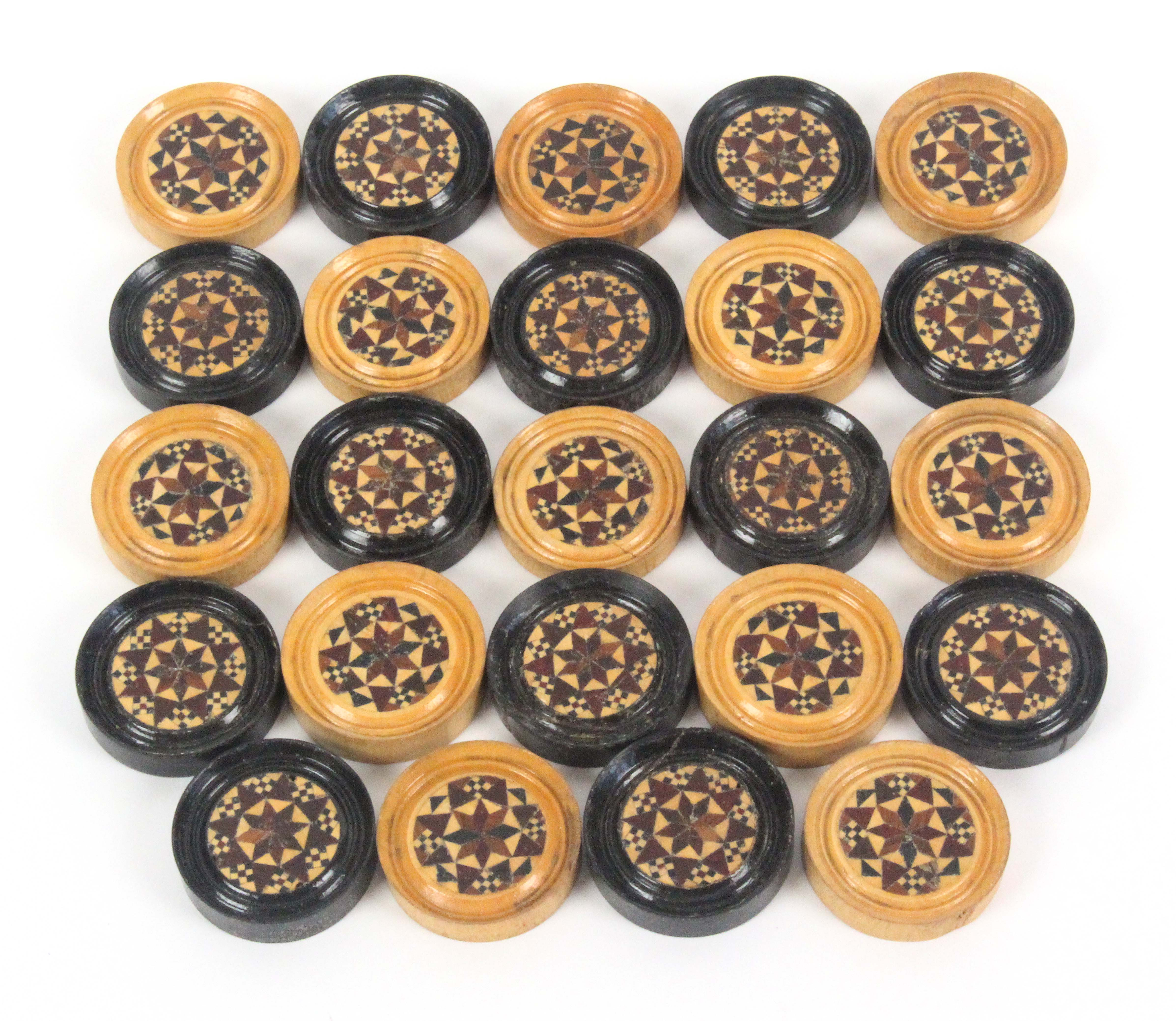 Lot 24 - A rare set of twenty four Tunbridge ware circular draughts pieces, together with others comprising
