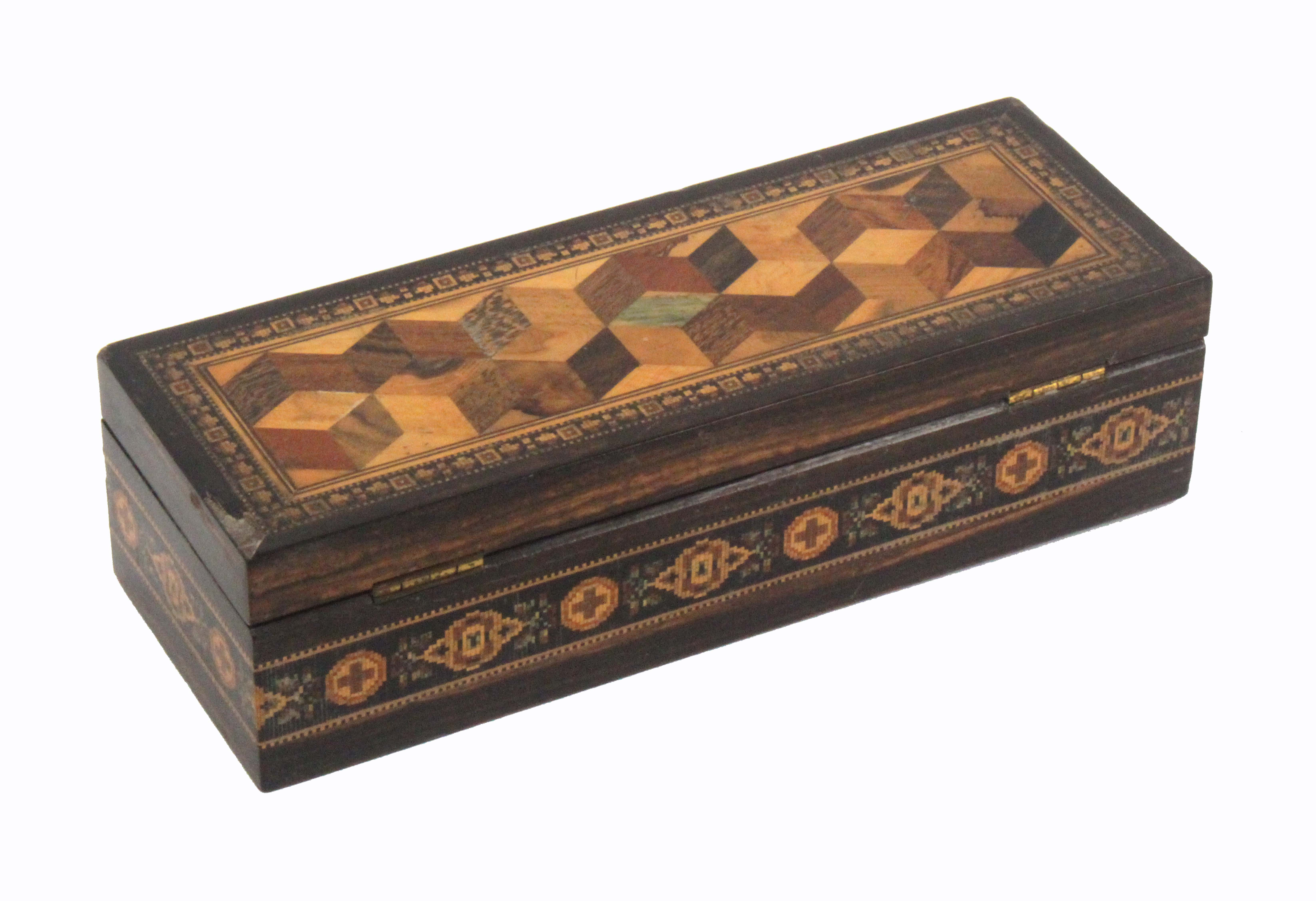 A rectangular coromandel wood Tunbridge ware box by Thomas Barton, the sides with a band of cross - Image 2 of 4