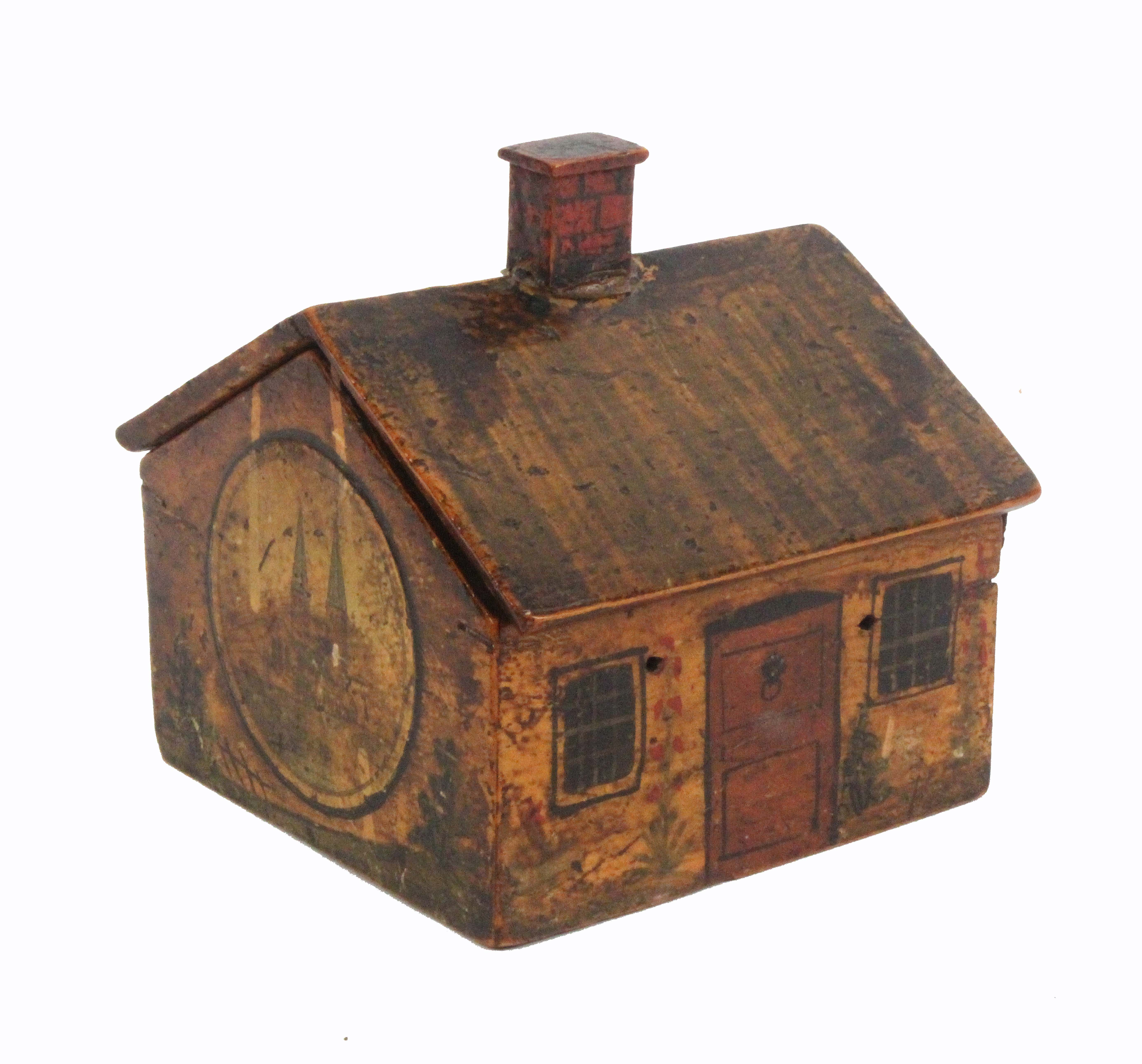 Lot 17 - A rare early Tunbridge ware painted and print decorated cottage reel box, the sloping roof with