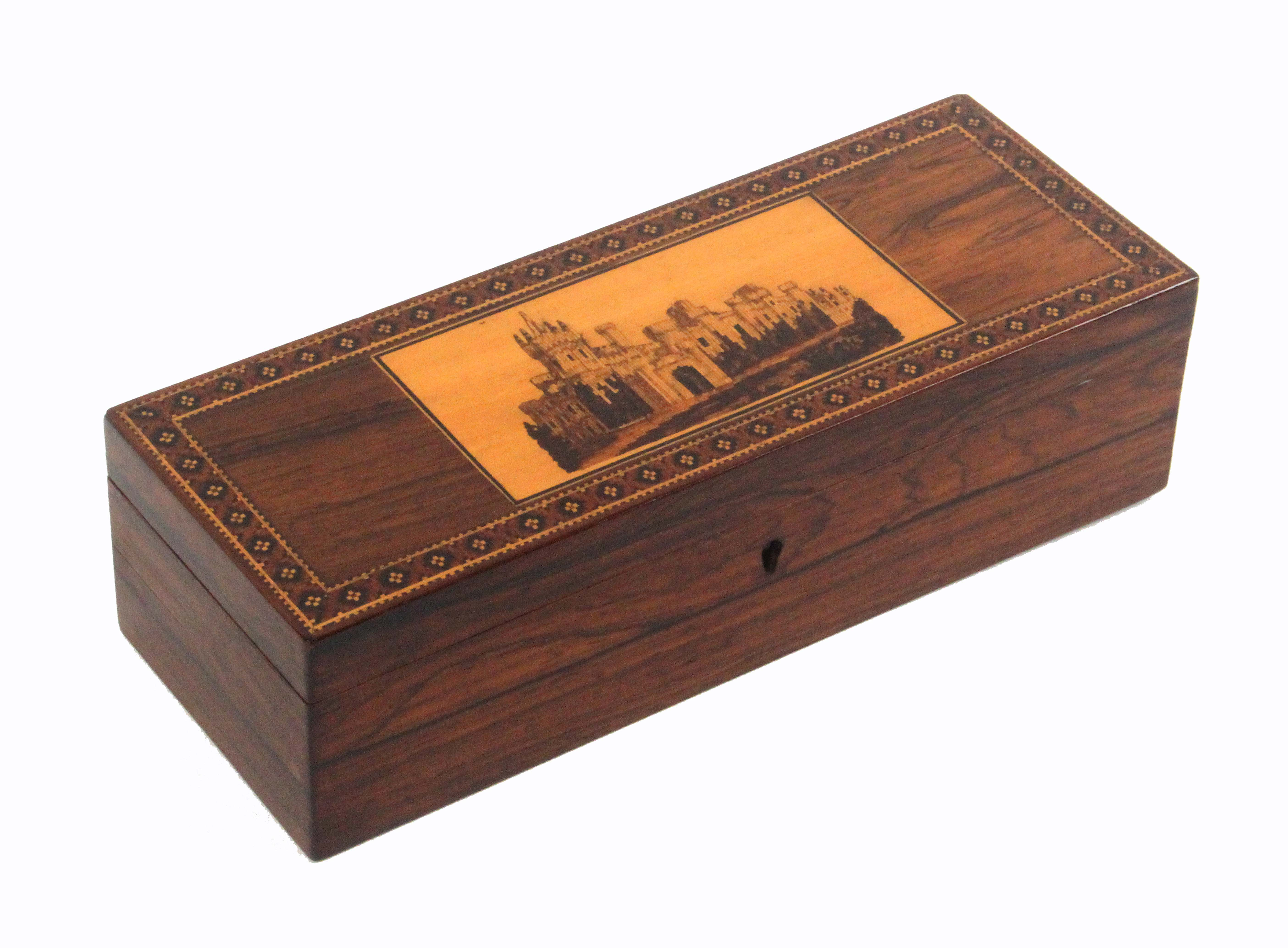 Lot 19 - A Tunbridge ware rosewood glove box, of rectangular form, the lid with an inset mosaic panel