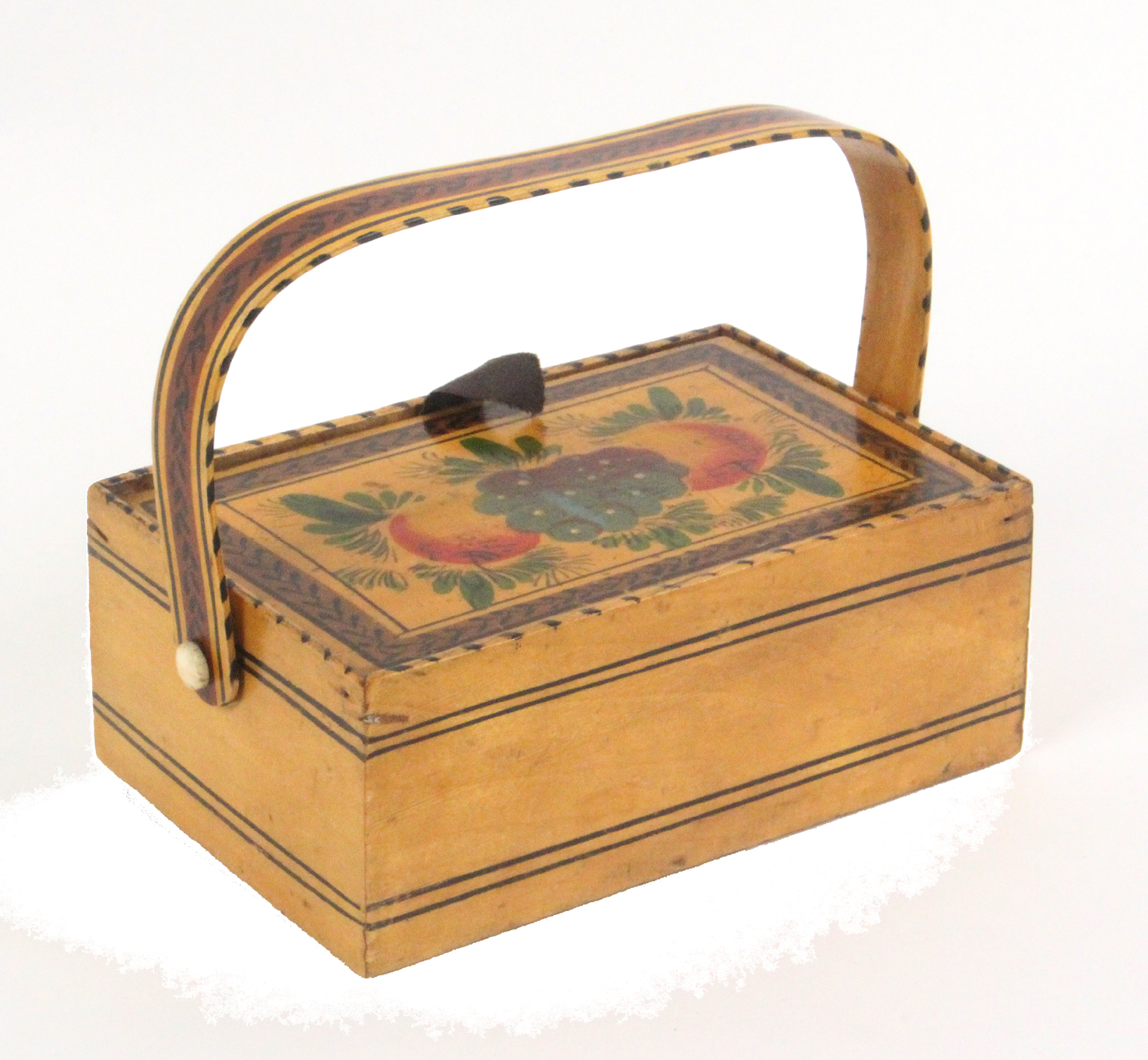 A small white wood sewing pannier, probably early Tunbridge ware, of rectangular form, the fruit and - Image 2 of 3