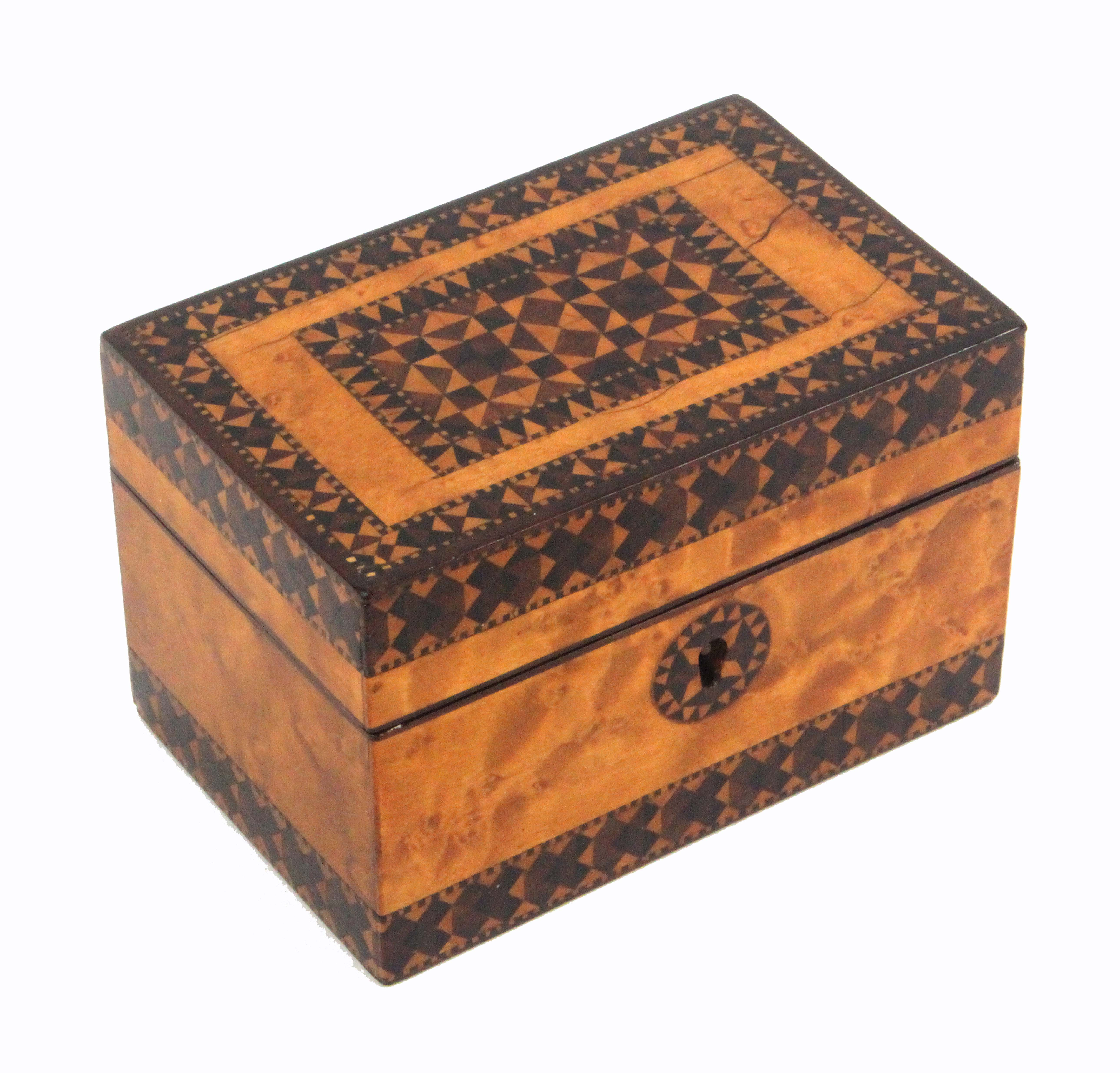 A Tunbridge ware scent bottle box, of rectangular form, the burr maple ground with two bands of