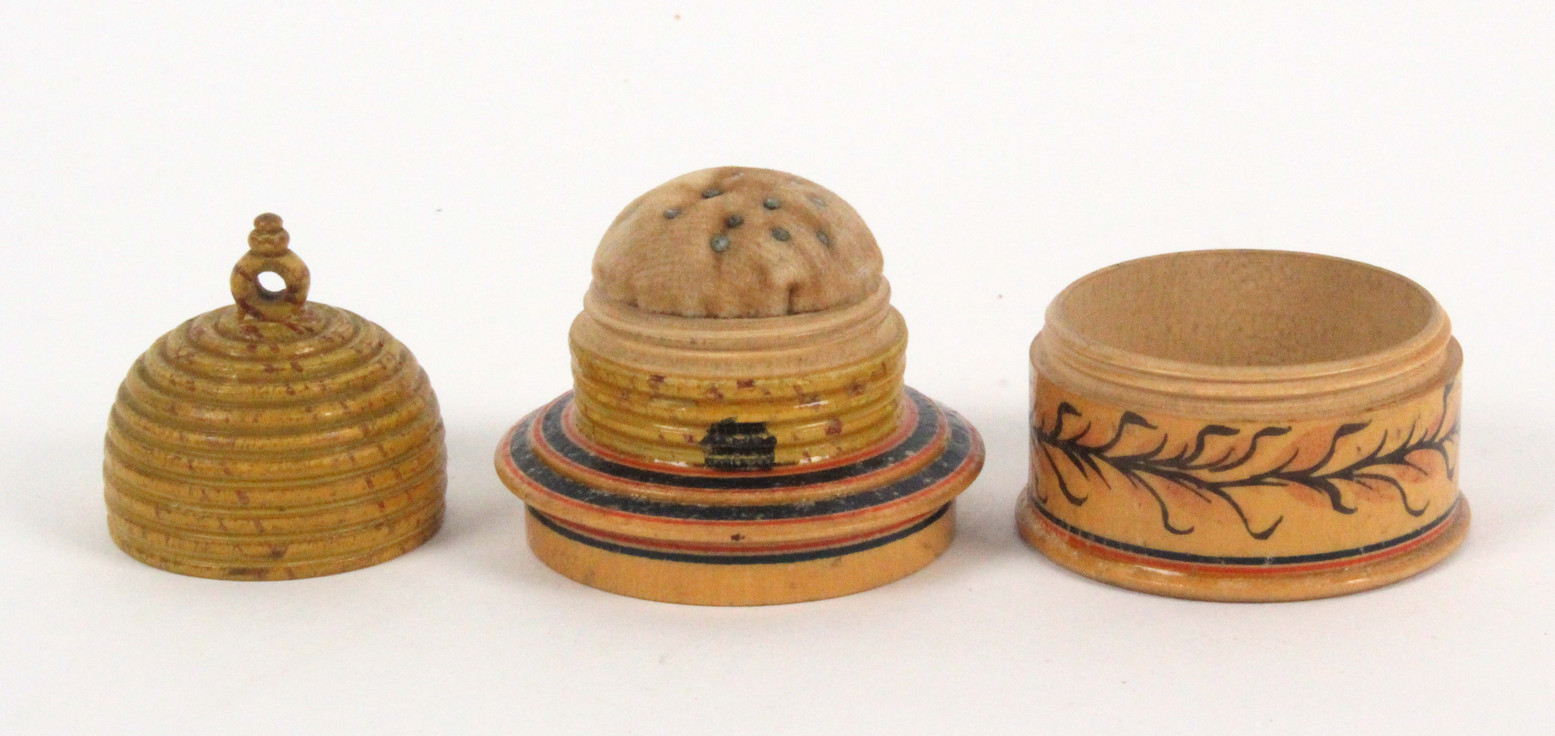 An early painted Tunbridge ware white wood pin poppet in the form of a bee skep, the circular box - Image 2 of 2