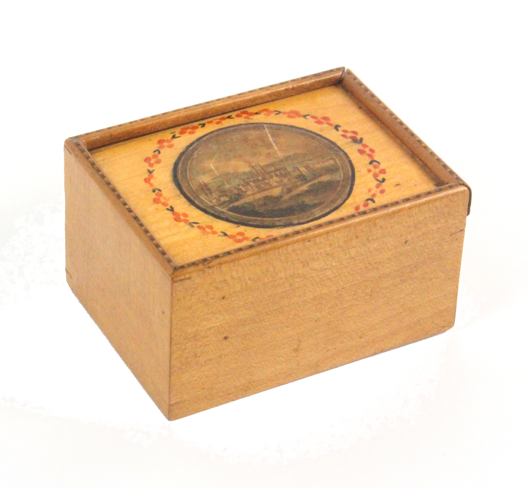 An early 19th Century Tunbridge ware rectangular white wood box, the sliding lid with chequer strung