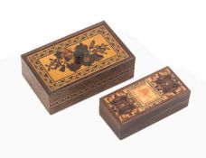 Tunbridge ware – two pieces, comprising a rosewood rectangular stamp box with printed stamp