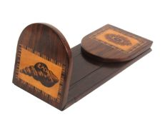 A Tunbridge ware rosewood book slide, one curved top hinged end inset with a mosaic panel of a sea