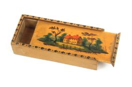 An early white wood painted and titled Tunbridge ware sliding lid box, the lid colour painted with a