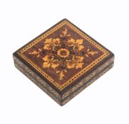 A Tunbridge ware Tangram puzzle, the square box with geometric mosaic lid and sides, complete with
