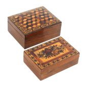 Two Tunbridge ware rectangular boxes, comprising a rosewood example the cushion top in cube work