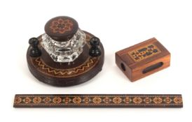 Tunbridge ware – three pieces, comprising a rosewood circular pen and ink stand with border of