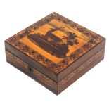 A Tunbridge ware rosewood box of square form, the lid with an inset mosaic panel of a stag in