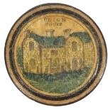 A rare early Tunbridge ware print and paint decorated reel circa 1820, of circular domed form, one