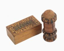 Tunbridge ware – two pieces, comprising a rectangular oak box the lid inscribed in mosaic '