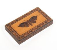 A Tunbridge ware rectangular paper weight, with an inset mosaic of a butterfly within a satinwood