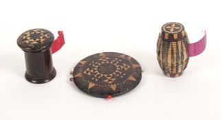 Tunbridge ware – three pieces, comprising a rosewood cylinder form tape measure with domed stickware