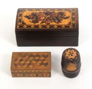 Tunbridge ware – three pieces, comprising a rosewood rectangular box, the domed lid in floral mosaic