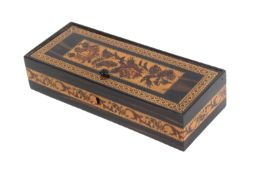 A Tunbridge ware coromandel wood pin hinge box, of rectangular form, the lid with a floral mosaic