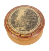 A rare early Tunbridge ware whitewood paint and print decorated turned whitewood box, the bulbous