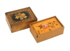 Two early white wood rectangular boxes, probably early Tunbridge ware, both with sliding lids, one
