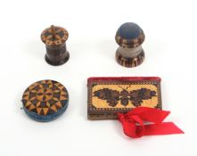 Tunbridge ware – four pieces, comprising a rosewood needle book each leaf with a butterfly in