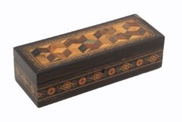 A rectangular coromandel wood Tunbridge ware box by Thomas Barton, the sides with a band of cross