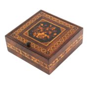 A Tunbridge ware rosewood pin hinge box of square form, the lid with floral mosaic panel within a
