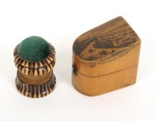 A combination Tunbridge ware waxer/pin cushion, and a Mauchline ware slant top thimble box, the