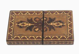 A Tunbridge ware visiting card case, of rectangular form one side with an inset panel of mosaic, the