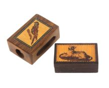 A Tunbridge ware box and a match box holder, the first in rosewood of rectangular form the lid