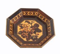 A Tunbridge ware rosewood octagonal card tray, the centre with a panel of mosaic flowers the