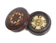 A scarce Tunbridge ware circular whist marker, the verre eglomise dial with brass hand contained