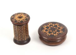 Tunbridge ware – two pieces, comprising a rosewood go to bed, the octagonal body below a circular