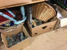 Glass bottles and baskets