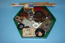Tray of assorted including rules, Royal Doulton Toby jug etc.