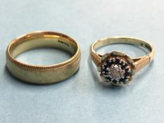 Two 9ct gold rings, 9g