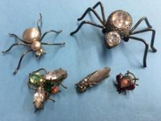 Five insect brooches