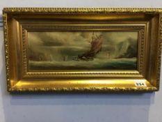 P. J. Wintrip, pair, oils, signed, 'Vessels at Sea'. 14 x 32cm
