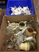 Two boxes of assorted including Lladro figures, cut glass etc.