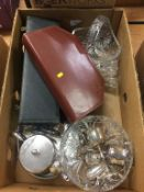Box of assorted including silver plate, glassware etc.