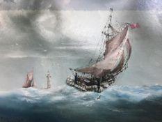 P. J. Wintrip, oil, signed, 'Vessels at sea', 32 x 44cm