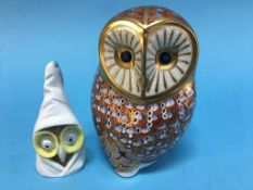 Royal Crown Derby Owl paperweight and a candle snuffer