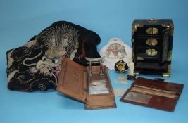 A quantity of mother of pearl gaming tokens, a kimono, jewellery box etc.