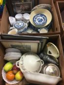 Two boxes of assorted including Susie Cooper, Myott etc.